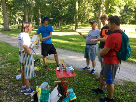 Happy to trade painting tips with fellow artists on the trail by the Great Mound.