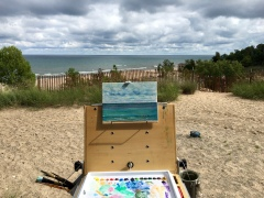 My attempt with oils to capture those dramatic clouds and waves on Lake Michigan.
