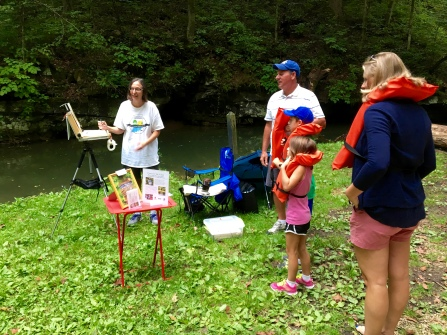 I had some great conversations about boats, caves and art while families waited for their boat rides.