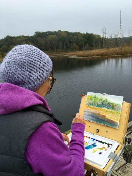 A chilly start to painting at Lake Lonidaw, but nothing a hot cup of coffee and a beautiful view couldn't handle.