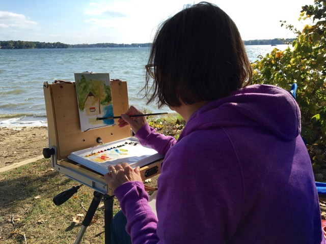 A gorgeous painting opportunity on the beach was worth the bad hair day!