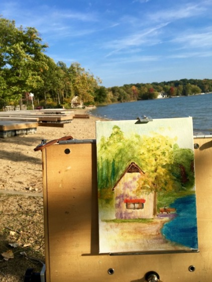Still practicing on buildings. At least I could paint on the Potawatomie Inn beach in the afternoon.