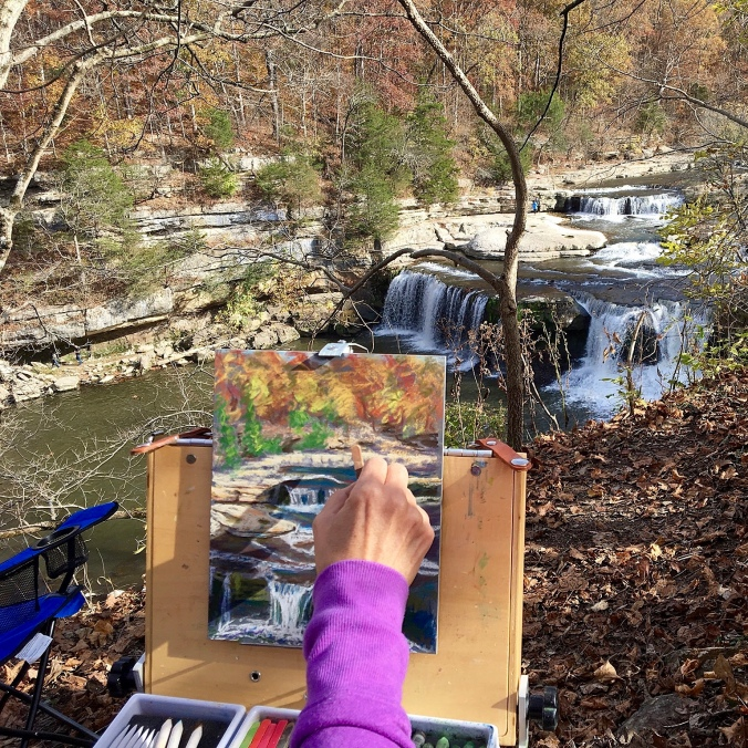 "Painting at a safe distance with pastels on an 8 x 10"" Ampersand pastelboard."