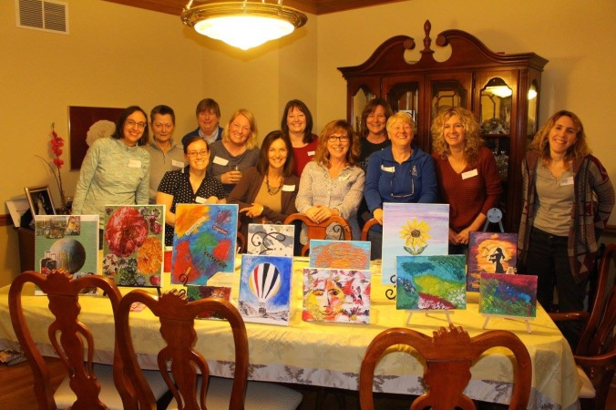 Here's a happy group of new friends with their unique masterpieces.