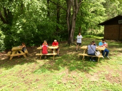 We took advantage of the brand-new picnic tables provided by the park for some enjoyable outdoor painting.