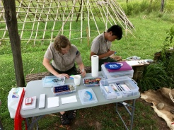 After lunch, I set up another painting demonstration under the shade shelter at the Native American village with the help of naturalists Shannon and Justin, who also tried out the water brushes and watercolor supplies.