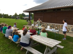 A first for Paints in the Parks, Prophetstown's main painting activity took place in the evening at the popular campground next to the shower building. Interpretive naturalist Angie Manuel began by giving a brief introduction and background to the Arts in Parks and Historic Sites program.