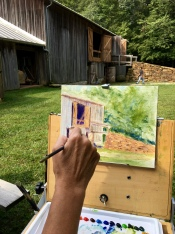 I began the day by painting the beautiful barn that houses the park's one-of-a-kind 1850s hay press. I couldn't wait to capture that gorgeous stonework.
