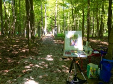 I enjoyed painting with chalk pastels in dappled shade at the entrance to the Walkway of Roses where climbing roses covered the three arches in the amusement park's heyday.