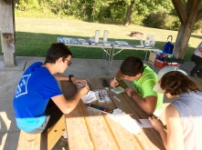One of Charlestown's sturdy picnic shelters provided plenty of shade for the evening's painting activity.