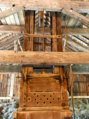 The 1850s hay press powered by oxen is an impressive example of practical art.