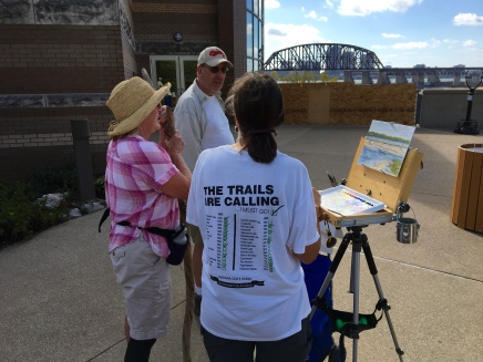 My morning plein air demonstration was set up on the observation deck overlooking the park's fossil beds with a good view of Louisville's historic railroad bridge. And yes, we saw a couple of trains cross over while we were there.