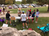We took advantage of some large limestone boulders as windbreaks outside the interpretive center while inviting park guests to paint with us.