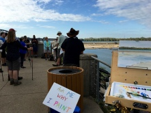 A group gathered for the special three-hour Saturday morning hike that can walk over to the outer fossil beds and dam (seen in the distance) this time of year when the water level is low. The gentleman in the foreground wearing a brown hat is Louisville native Erik Bendl otherwise known as World Guy.