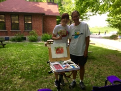 I finished the day with a painting demonstration at the historic Stanley Schoolhouse, built in 1915 overlooking the Finster Lakes, where I met and painted with Hannah from Fort Wayne. What a lovely ending to another great Arts in the Parks event!