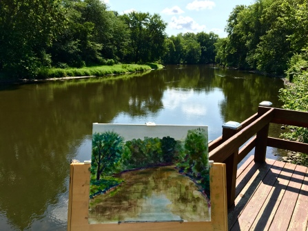 Trying to capture that picturesque blue sky reflected in the river. What a gorgeous view to paint!