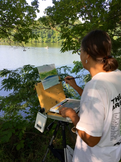 In the morning I found a perfect shady spot to paint on the banks of Whitewater Lake, which is part of the only state park in Indiana to be purchased by the citizens of neighboring counties in honor of those who served in WWII.