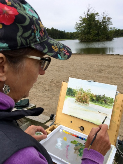 I spent a couple of hours in the morning painting the intriguing little island in the middle of Kunkel Lake. There was such a drop in temperature from the 90s earlier in the week that I could have used some mitts!
