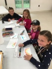 These young artists not only tried out the watercolors and water brushes, but also the watercolor pencils and crayons.