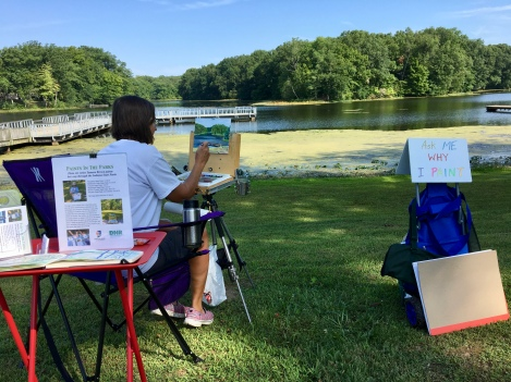 For the morning painting demonstration, I chose a spot near the fishing pier on Lake Shakamak, one of three reservoirs in the park.