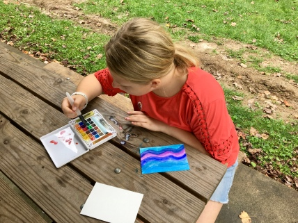 My Koi field watercolor kit was available for artists to try out as they painted.