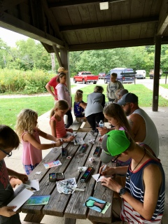 The nearby picnic shelter provided plenty of tables to spread out and paint.