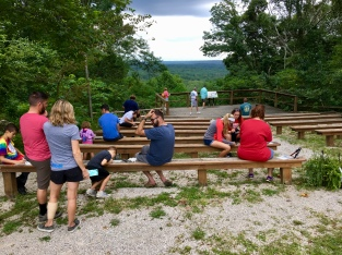 Many art participants took advantage of the benches overlooking the spectacular view that makes Brown County a favorite destination, especially during the fall foliage season.