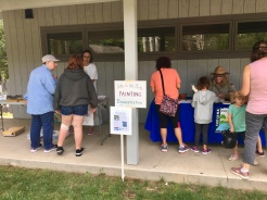 The art activity took place at Brown County's wonderful visitor's center that was also hosting their nature fair. I set up next to the butterfly display table that also offered milkweed seeds to plant.