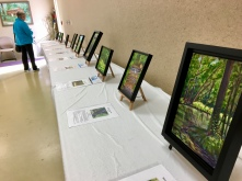 The twenty-five park paintings were displayed around the room with their summaries and brochures.